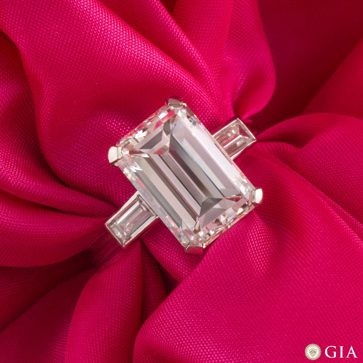 Emerald Cut Platinum Diamond Ring 7.02ct H/VS1